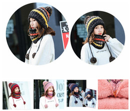 beanie hat cap scarf 2019 - Winter Warm Knitted pom pom hat 12 Colors Double Thickening Beanie Hats Scarf Sets For Student Teenagers Women Knitted H