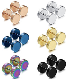BarBell stud earrings online shopping - Punk Double Sided Round Titanium Steel Earrings Men Women Blue Gold color Fake Ear Plugs Gothic Barbell Stud Earring
