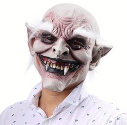 Latex Free Makeup NZ - White brow old devil Halloween horror devil mask vampire foreign trade haunted house makeup props latex cover wholesale free shipping