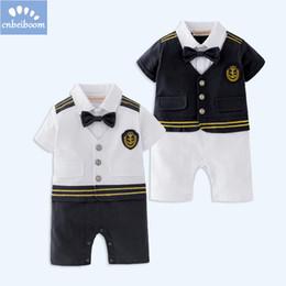 20fac457f9a Ropa de bebé niño mangas cortas marinera Capitán mameluco Halloween traje  de cosplay traje de traje mono infantil traje de la ropa