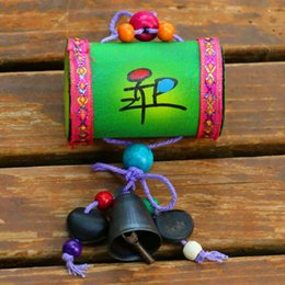 Folk Arts Australia - Yunnan dongba arts and crafts folk wind chimes creative wooden drum fengling hang piece tourist crafts