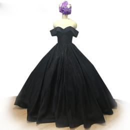 $enCountryForm.capitalKeyWord UK - Elegant Black Ball Gown Evening Dresses 2018 off shoulder Beading Formal Gowns Vintage Party Dresses Satin Prom Dress Vestido De Noiva
