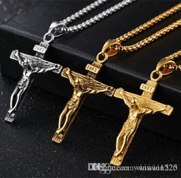 $enCountryForm.capitalKeyWord Australia - Crucifix Cross Pendant Necklace Bracelet Gold Black Gun Plated  Stainless Steel Fashion Religious Jewelry for Women Men Faith Necklace
