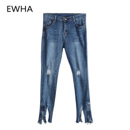 2ab478128786 Autumn Winter Oversized for Women Hole Vintage Girls Slim Ripped Denim  Pencil Pants High Waist Fashion Boyfriend Jeans