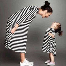 Mom Child Clothes NZ - Mommy and Me Family Matching Mother Daughter Dresses Clothes Striped Mom Dress Kids Child Outfits Mum Big Sister Baby Girl