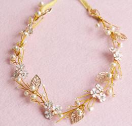 Pearl Gold Hair NZ - Gold Bridal Headpieces Flower Pearls Crystal Wedding Hairbands Crowns Women Girls Hair Band Headdress Wedding Veil Dress Hair Accessories