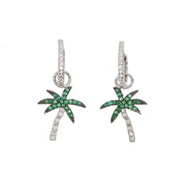 beach earrings UK - Two way used take out charm earring green white cz summer beach tree charm lovely fashion Chic 2018 latest design earrings