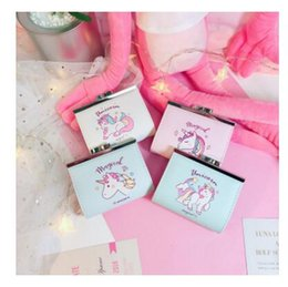 Discount gift bags dhl shipping - Fashion Women Coin Purse Cartoon Unicorn Girls Kids Mini Wallet Clutch Coin Card Holder Cute Money Bag Purse Gift DHL Fr