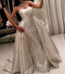 China 2018 Bling Ball Gown Prom Dresses with Sweetheart Neckline Sweep Train Sleeveless Glitter Glued Lace Detachable Overskirt Evening Gowns suppliers