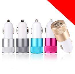 Metalowy podwójny portu USB Adapter samochodowy Ładowarka Universal Aluminium 2-port ładowarki samochodowe USB dla Apple iPhone iPad iPod / Samsung Galaxy Droid Nokia