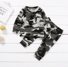 wholesale military shirts Australia - 2PCS New Kids Clothing Set Toddler Infant Camouflage Baby Boy Girl Clothes T-shirt Tops+Pants Outfits Set