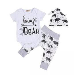 Wholesale Newborn Clothing Sets Girls Boy Baby Bear Rompers Jumpsuits Pants Hat Baby Coming Home Outfits Set B11