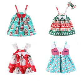 8053419e096 Christmas Baby Girls Cute Santa Printed Sling Dress Kids Infant Xmas deer  Animal Bow Princess Dresses Children halloween Cosplay costumes