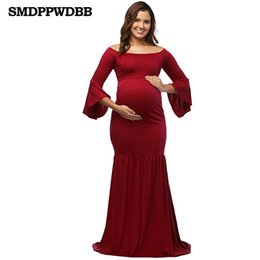 SMDPPWDBB Maternity Dresses Maternity Photography Props Plus Size Dress  EleFancy Pregnancy Photo Shoot Mermaid Long Dress 9487623442de
