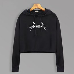 43c1b4afc32 Kitty Cat Meow Korean Cute Short Style Hoodies Women Autumn 2018 Hot Long  Sleeve Crop Hoodie Casual Kawaii Sweatshirts For Girls