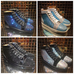 2018 Red Bottoms Sneakers Zapatos para hombres Casual Mujeres de lujo para hombre Azul Crystal Outdoors chaussures de color rojo de fondo zapatillas zapatillas talla 35-46 en venta