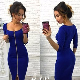 Red Knee Length Bodycon Dresses NZ - 2019 Autumn Winter Fashion Women Sexy Club Bodycon Casual Dress Party Blue Red Black Knee-Length Party Office Wear Dresses