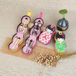 Wholesale russians doll resale online - Cute Japanese Russian Doll Shape Stainless Steel Nail Cuticle Clipper Scissors Pedicure Manicure Cleaner Grooming Kit Case Tool with Case