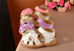 Discount korean kids sandals - Girls sandals kids beach shoes frist walker Korean soft bottom flowers children's baby toddler shoes princess shoes
