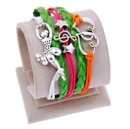 Dancer Bracelets Australia - Heart Love Dance Dancer Charm Wrap Bracelets Leather Wax Bracelets Unisex kid child girls Women Dancing Girl Fashion