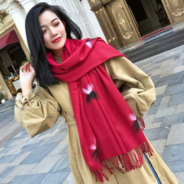 black white fashion monochrome NZ - Autumn And Winter New Monochrome Cashmere Viscose Flower Scarves Soft And Comfortable Long Beard Warm Shawl Women Wholesale