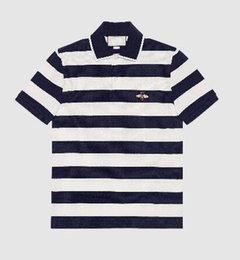 $enCountryForm.capitalKeyWord UK - Express Men Polo Shirt Short Sleeve Italian Lapel Cotton Polos Shirts Red Striped With Bee Embroidery Spring Navy Blue