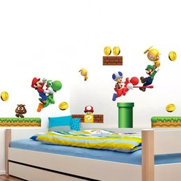 Super mario bros removable wall stickers vinyl stickers art books childrens decor border tiles for bathrooms