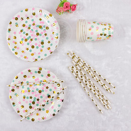 $enCountryForm.capitalKeyWord NZ - 45pcs Gold Black Dot With Gold Stardinner Paper Plates Drinking Straw Paper Cup Foil Silver Party Decor Supplies Tableware