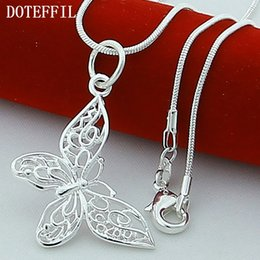 Wholesale 925 Sterling Silver Butterfly Necklaces Pendants For Women Elegant Butterfly Short Necklace Sterling Silver Jewelry