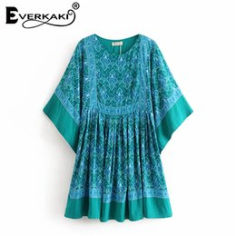 China Everkaki Cotton Boho Tunic Dress Women Batwing Sleeve Mini Dress Floral Blue Gypsy Loose Dresses Summer Bohemian Clothes 2018 cheap gypsies dresses suppliers