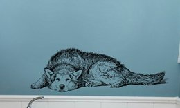 $enCountryForm.capitalKeyWord NZ - PVC Black Huskie Wall Stickers Self-adhesive Lovely Dog Wall Decals for Living Room Bedroom and Study Decoration