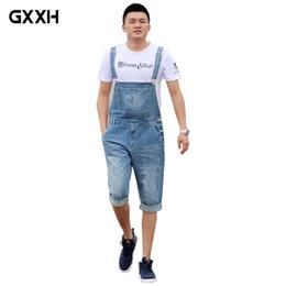 Blue Plus Size Jumpsuit Australia - 2018 Summer Men's Casual Loose Denim jumpsuits overalls bib pants light blue cargo pants plus size gardener capris size XS-5XL