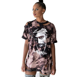 girls ripped shirts UK - Punk Dress Hot Ladies Ripped Graffiti T Shirt Dress Kendall Jenner Girls Tunic Summer Fashion Mini Sexy Dresses Rock and roll Hiphop Top