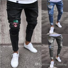 825353e92c840 2018 Fashion Mens Skinny Jeans Ripped Slim fit Stretch Denim Distress  Frayed Jeans Boys Embroidered Patterns Pencil Trousers JN10