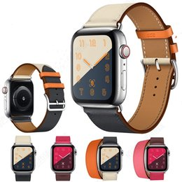 Band Belts UK - New Luxury Business Casual Style Official Genuine Leather Band Watch Strap Belt Bracelet for 38 42mm 40 44mm Apple Watch Series 4
