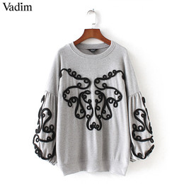 ChiC lanterns online shopping - New Women String Decorate Sweatshirt Long Lantern Sleeve Oversized Pullover Lady Loose Chic Tops Casual Wear Sudaderas
