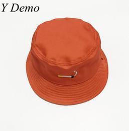 998c59417d5 Discount cigarette bucket - 2017 Orange Harajuku Embroidery Cigarette  Bucket Hat Women Cute Hat