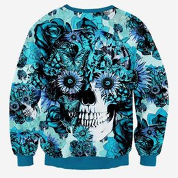 Chinese  Hip Hop Hoodie Skulls printing Men Women 3d sweatshirt print blue roses Sunflower and butterfly long sleeve hoodies autumn pullover manufacturers