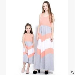 Plus Size Mother and Daughter Matching Maxi Dresses Summer Sleeveless  Striped Patchwork Vest Dress Mother Daughter Clothes Family Clothing 594cafc7e88f