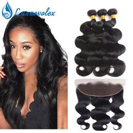$enCountryForm.capitalKeyWord Australia - Indian Virgin Hair 3 Bundles with Lace Frontal Closure Body Wave 100% Unprocessed Peruvian Human Hair Bundles with Closure Natural Color