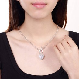 $enCountryForm.capitalKeyWord NZ - XMAS Fine 925 Sterling Silver Snake Chain Necklace CZ Heart Pendant Link Italy, Top quality New Arrival 18inch Necklace for Men Women N277