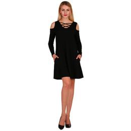 8d51e3cb810 New Fashion Sexy Women Criss Cross Front Deep V Neck Cold Shoulder Casual  Mini Dress Solid Color Pockets Skater Dress 8 Colors