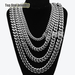 316l titanium necklace chain online shopping - 8mm mm mm mm L Stainless Steel Jewelry High Polish Miami Cuban Chain Necklace Men Punk Curb ChainDragon Beard Clasp quot quot quot quot