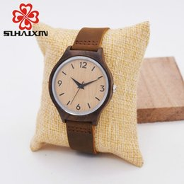 Cheap Wood Glasses NZ - SIHAIXIN Minimalist Bamboo Wood Woman Watch Top Brand Luxury Leather Quartz Wooden Watch Female Cheap Lady With Free ShippingY1883103