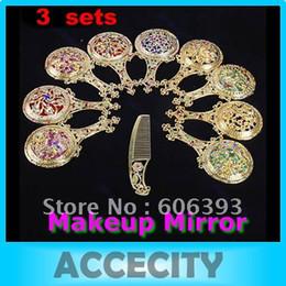 Ladies Makeup Sets NZ - 3sets lot Rhinestone Retro Ladies Makeup Compact Pock Hand Held Mirror Hair Comb Set Pro