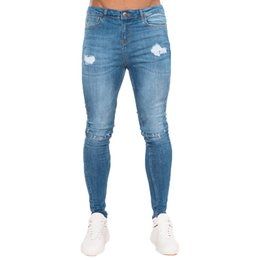 Ripped Jeans Tights NZ - Gingtto Ripped Jeans For Men Blue Distressed Jeans Stretch Cotton Light weight Super Skinny Ankle Tight Big Size Stretch zm39