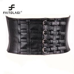 Apparel Accessories Active Women Elastic Buckle Wide Waistband Waist Belt Adjustable Corset Pu Leather Belt Vintage Vest Body Shaping Elastic Wide Belt