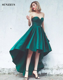 Strapless Satin Short Wedding Dresses Australia - A-line Sweetheart Strapless Green Satin Bridesmaid Dresses Short Front Long Back Wedding Party Gowns High Low Guest Dresses Custom-made