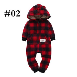 Santa Claus Girls Jumpsuit Australia - Christmas Newborn Baby Hooded Rompers Boy Girl Designer Clothes Jumpsuits Dinosaur Plaid Camouflage Dots Striped Santa Claus Elk Winter