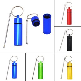 Aluminum wAterproof bottle online shopping - Aluminum Metal Snorter Snuff Bottle Pill Box Container Herb Storage Seal Store Multiple Uses Metal Spoon Portable Key Chain Ring Waterproof